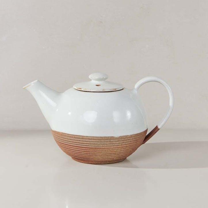 Mali Ribbed Teapot; White
