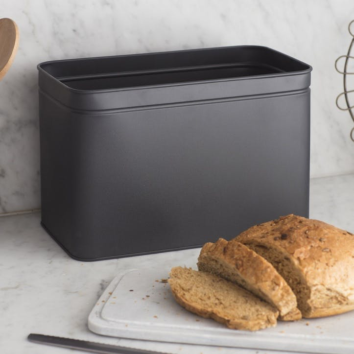 Brompton Bread Bin, Carbon - Iron and Marble