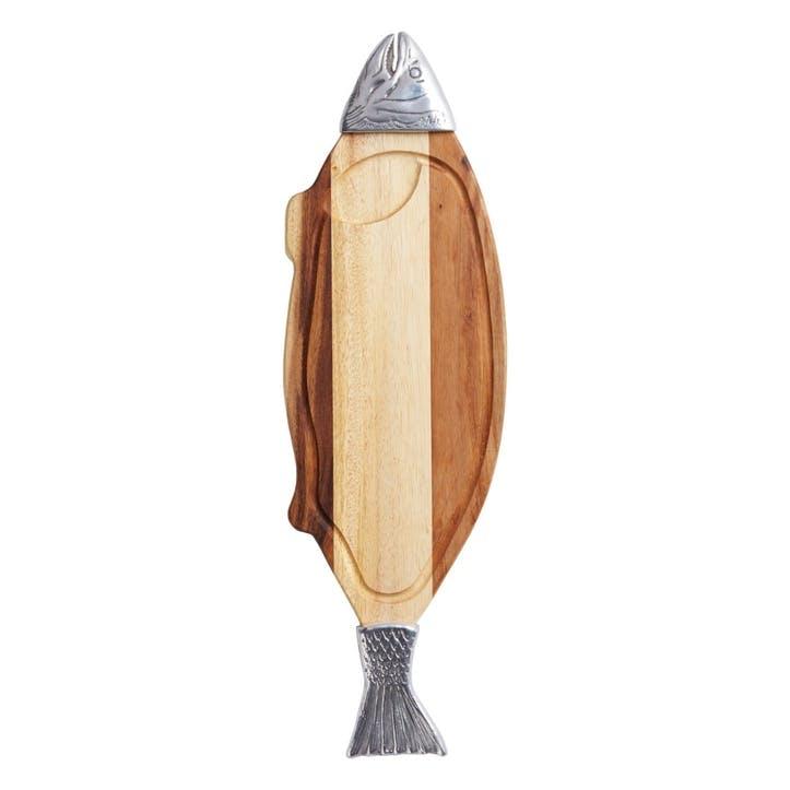 Acacia Wood and Metal Fish Serving Board