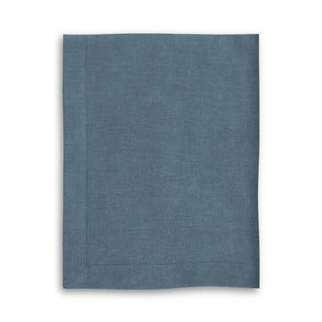Mitered Hem Tablecloth, Parisian Blue, 160 x 375cm