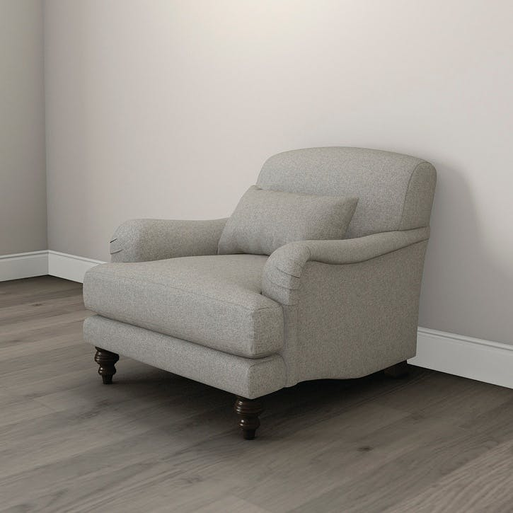 Petersham Tweed Armchair, Mid Grey