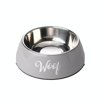 Woof 2 in 1 Dog Bowl, L, Grey