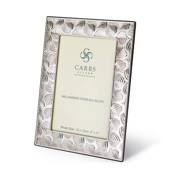 "Deco Leaf Sterling Silver Photo Frame, 7""x5"""
