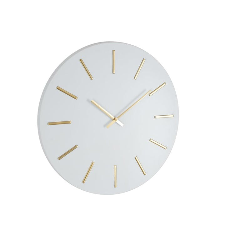 Hythe Wall Clock, 50cm, White/Gold