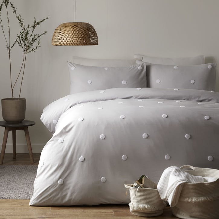 Polka Bedding Set, Double, Silver