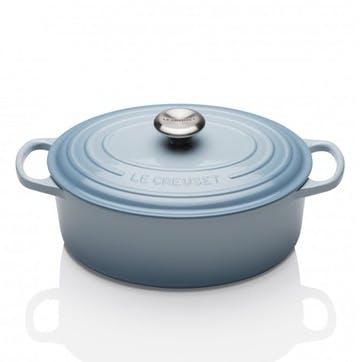 Cast Iron Oval Casserole - 25cm; Coastal Blue