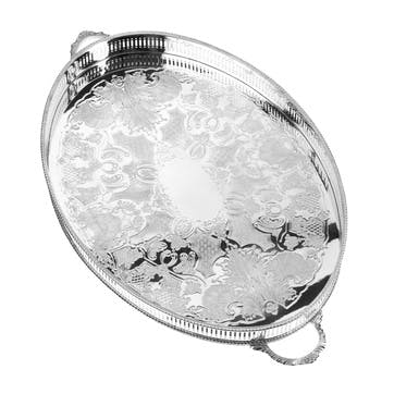 18″ Silver Plated Oval Mounted Gallery Tray with Handles