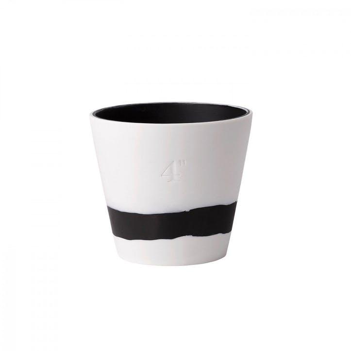 Burlington Pot Black on White Pot 4inch