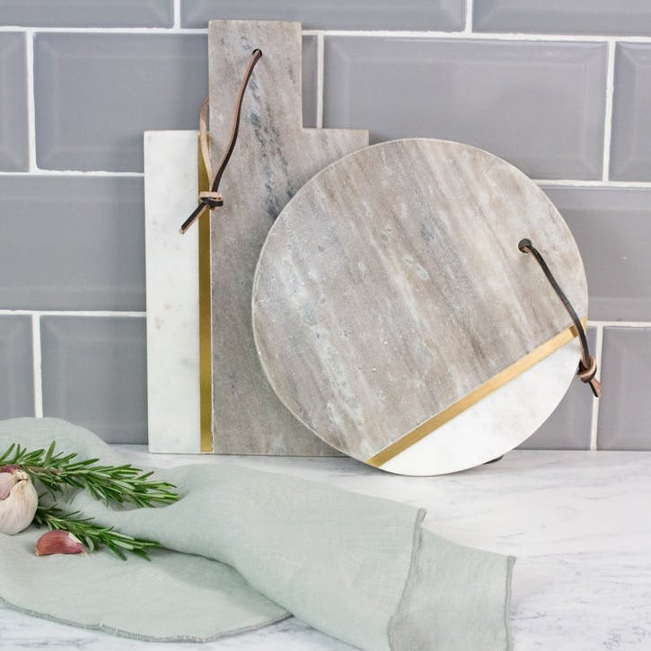Marble & Brass Board, Natural/White