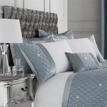 Sequin Cluster Duvet Cover and Pillowcase Set King Size, Duck Egg