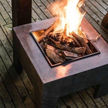 Outdoor Square Firebowl & Square Console, Granite