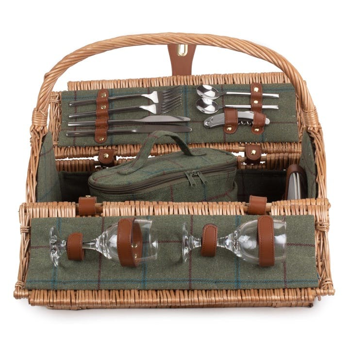2 Person Green Tweed Barrel Hamper