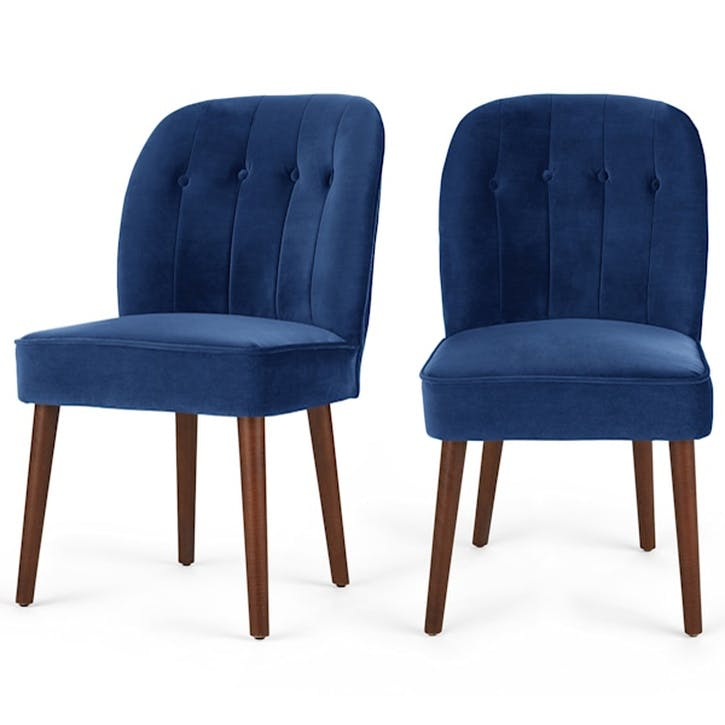 Margot Set of 2 Dining Chairs, Electric Blue Velvet