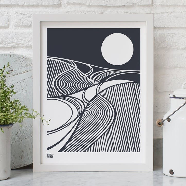 Harvest Field Moon Screen Print - 30 x 40cm; Sheer Slate