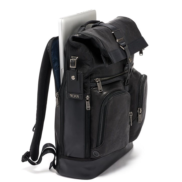 Alpha Bravo London Roll-Top Leather Backpack, Black