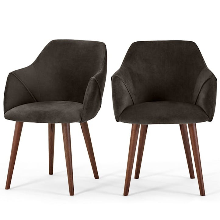 Lule Set of 2 Carver Dining Chairs; Otter Grey Velvet