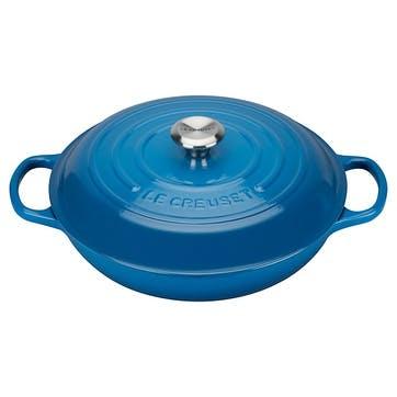 Cast Iron Shallow Casserole - 30cm; Marseille Blue