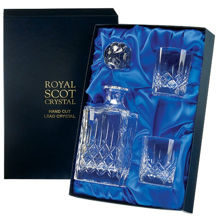 London Crystal Square Spirit Decanter and Tumblers Pair Gift Set