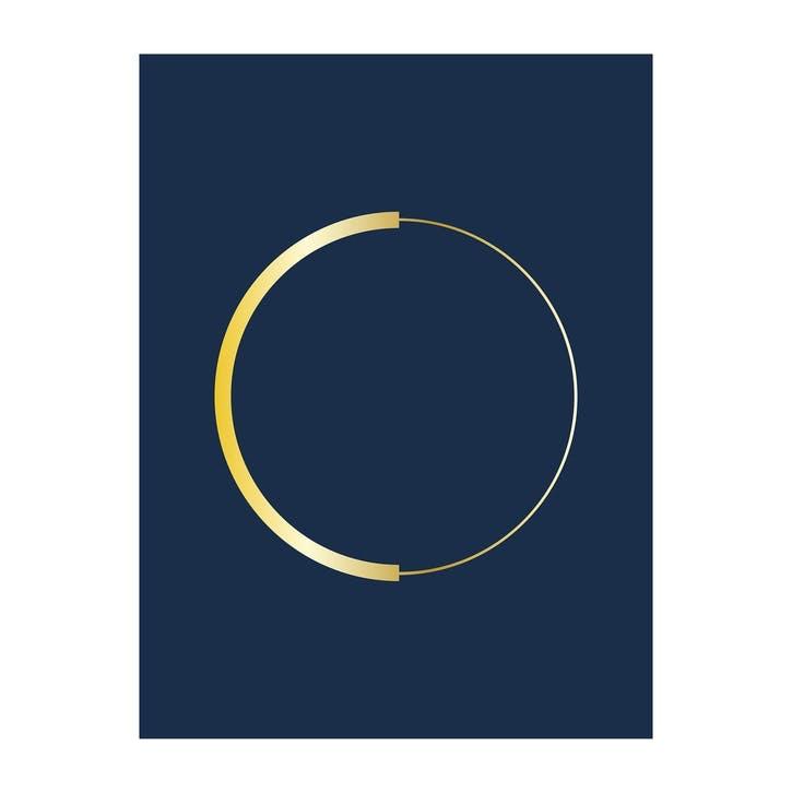 Blue and Gold Abstract Circle Print