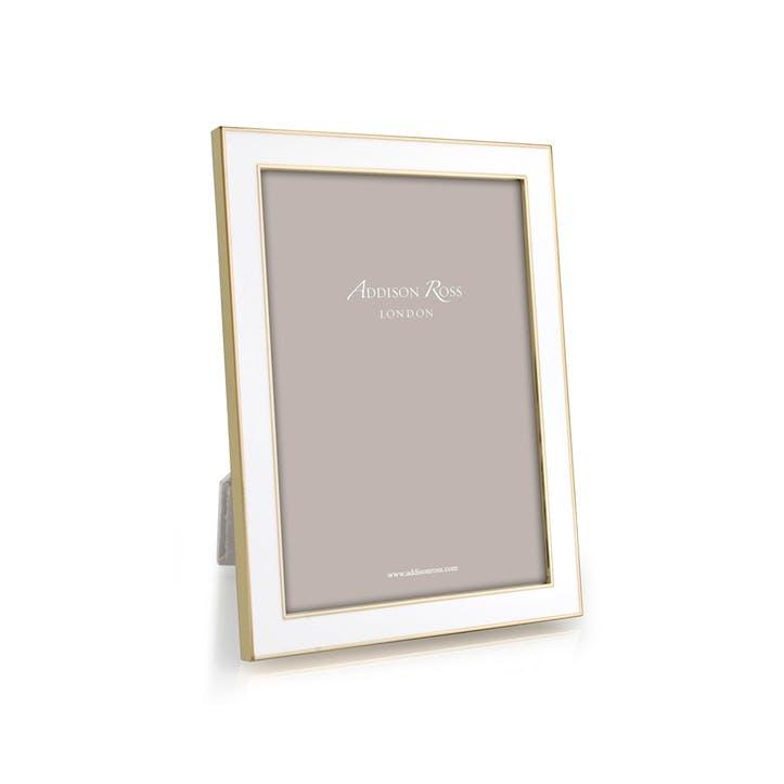 "15mm Gold and Enamel Photo Frame - 4"" x 6""; White"