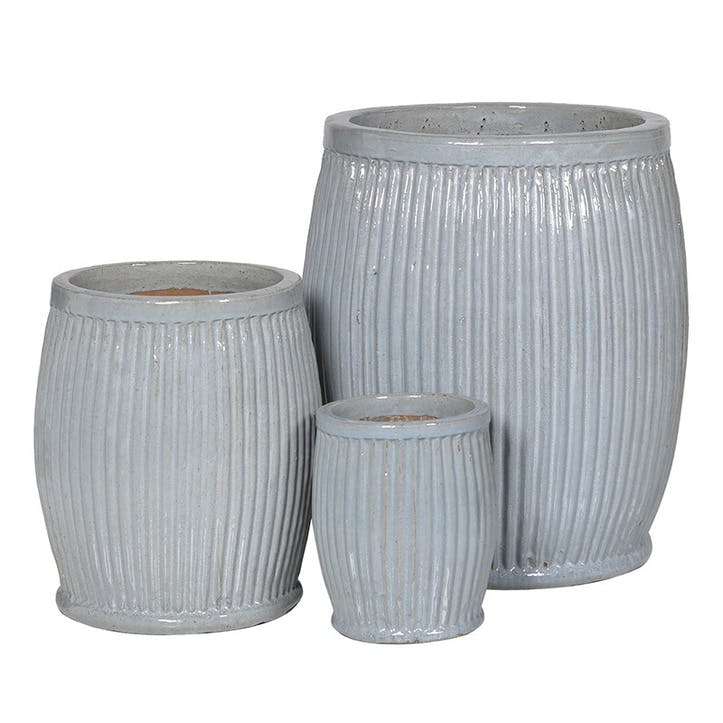 Set of 3 Ribbed Ceramic Planters