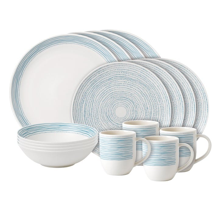 ED Ellen DeGeneres 16 Piece Dinner Set, Polar Blue Dots