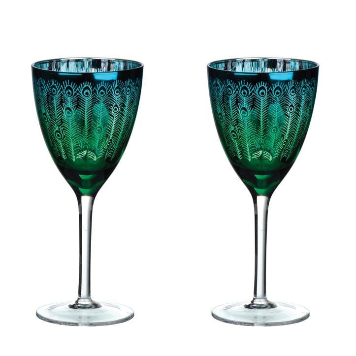 Peacock Wine Glasses, Set of 2