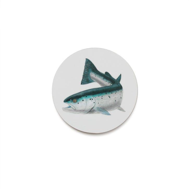 Seaflower Atlantic Salmon Coaster, 10cm, Blue