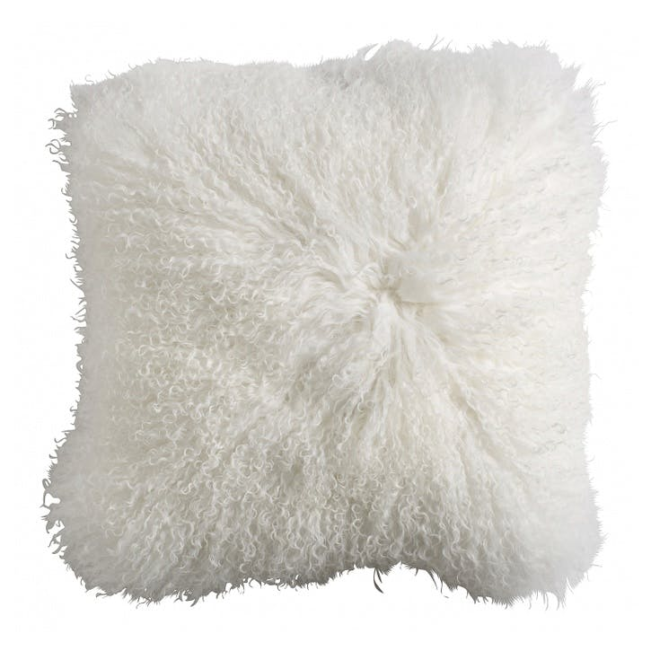 Tibetan Sheepskin Cushion, White