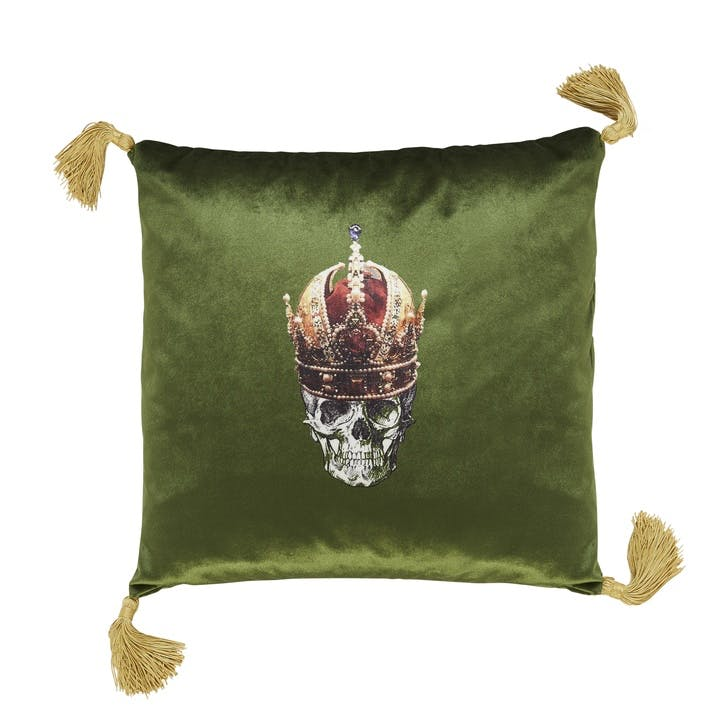 Skull in Crown Velvet Cushion, Meadow Green