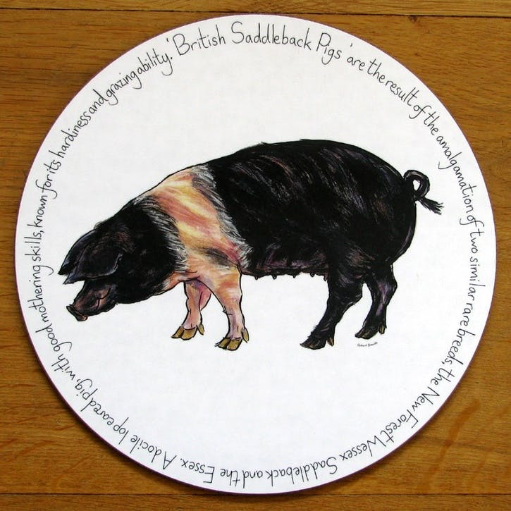 Saddleback Pig Tablemat - 28cm