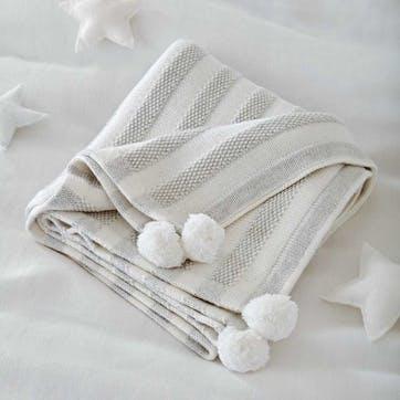 0 Striped Cotton Cashmere Blanket , W100 x L75cm, White & Grey