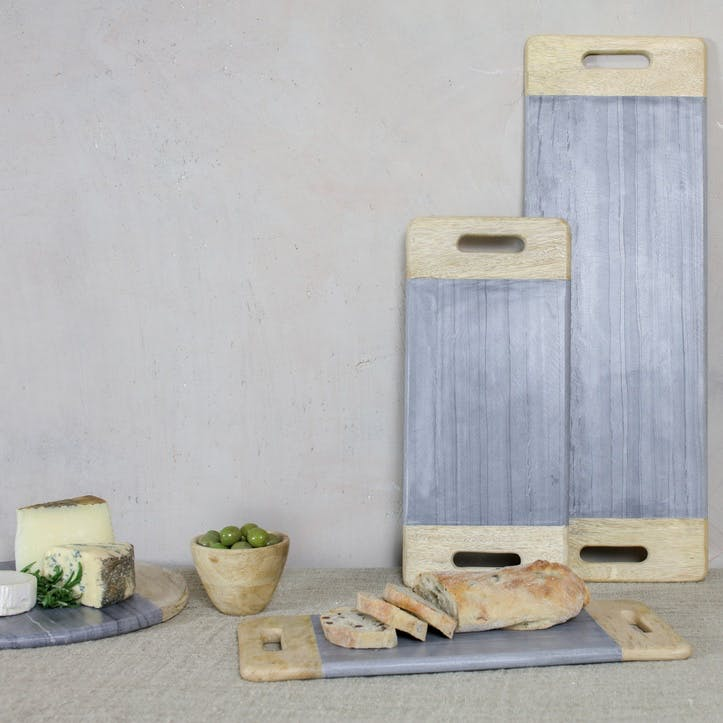 Bwari Marble Platter - Large; Grey