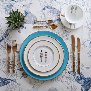 Modern Surrealist The Models Dinner Plate, Retro Blue