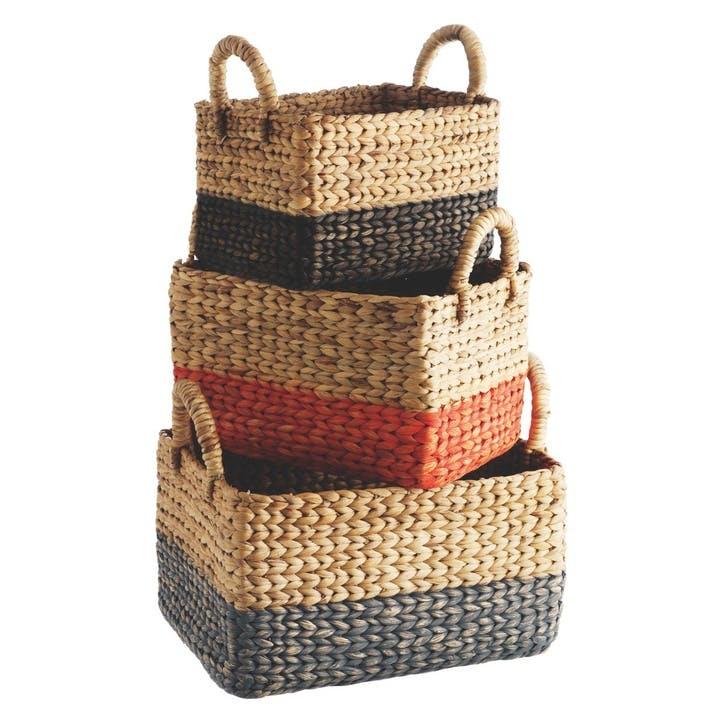 Coby Water Hyacinth Basket, Set of 3