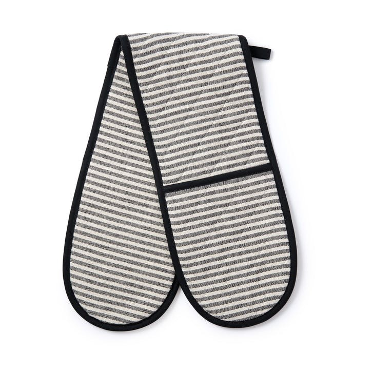 Harbour Stripe Double Oven Glove, Black