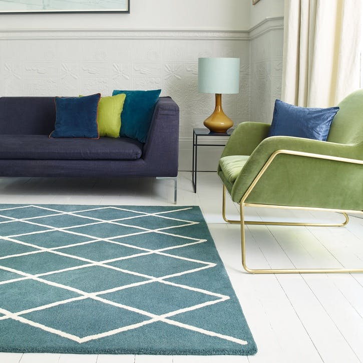 Albany Diamond Rug, 0.80 x 1.5m, Teal