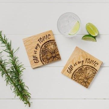 Gin is my Tonic Oak Coaster, Set of 2