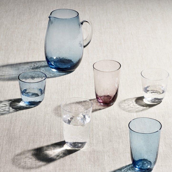 Hammered Glass Tumbler, Set of 4, Aqua