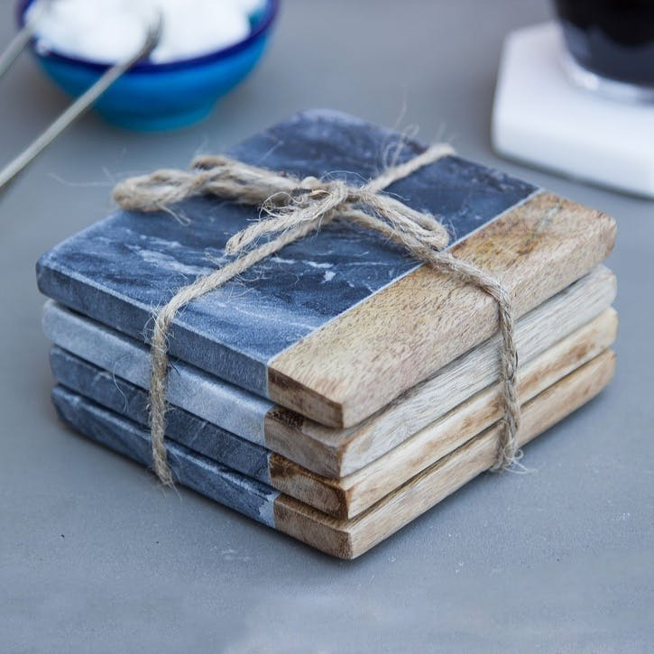 Mango Wood & Marble Square Coasters, Set of 4, Grey