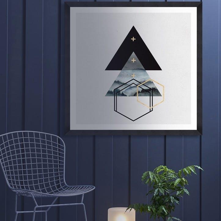 Triangles I Black Framed Print,90 x 90cm