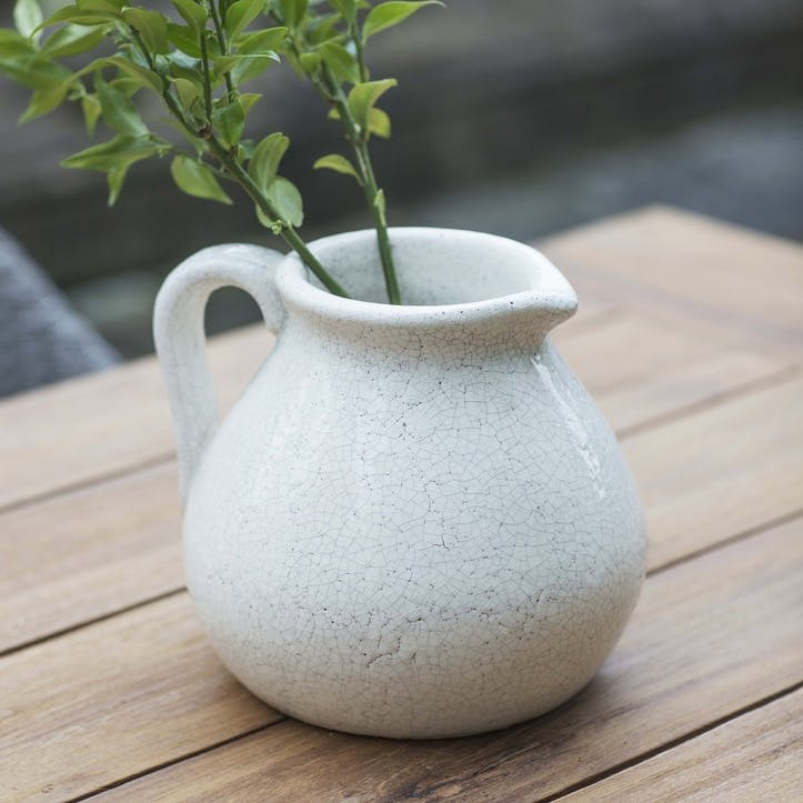 Ravello Flower Jug in White, Ceramic
