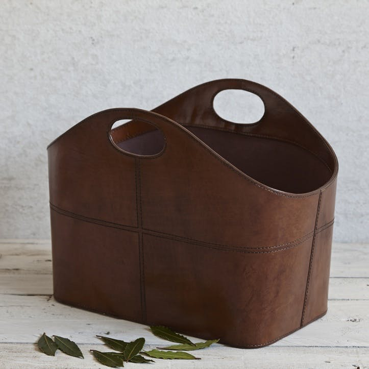 Leather Curved Storage Basket