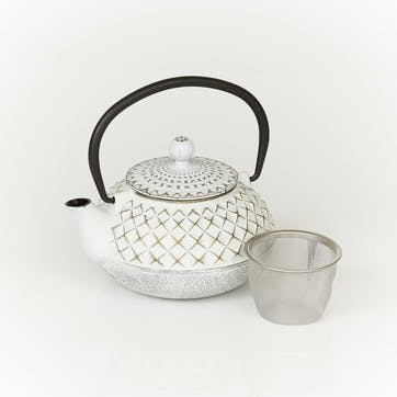 Cast Iron Teapot, Ivory & Gold