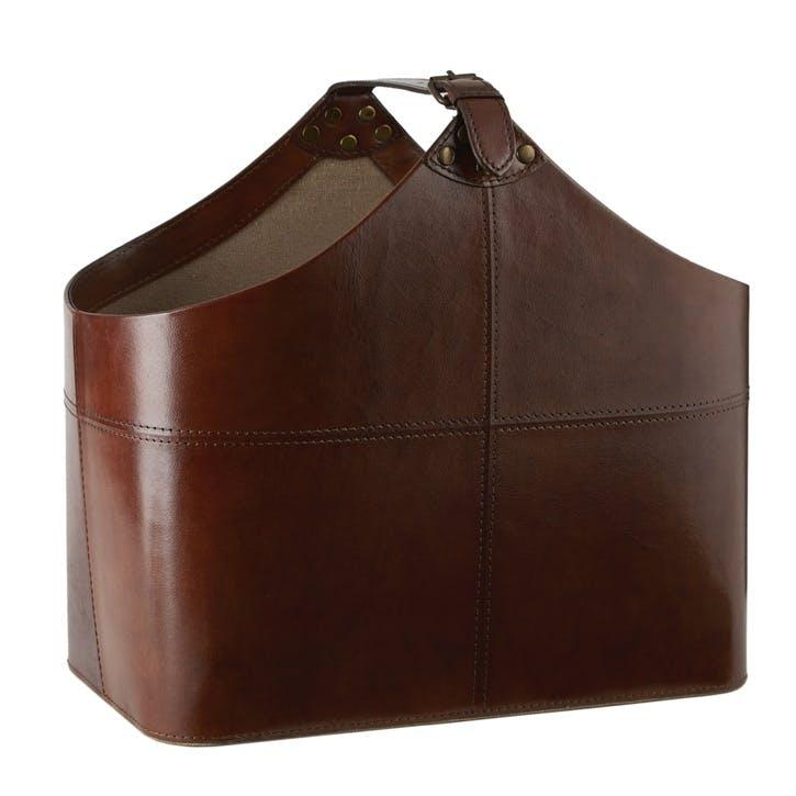 Leather Buckled Magazine Basket