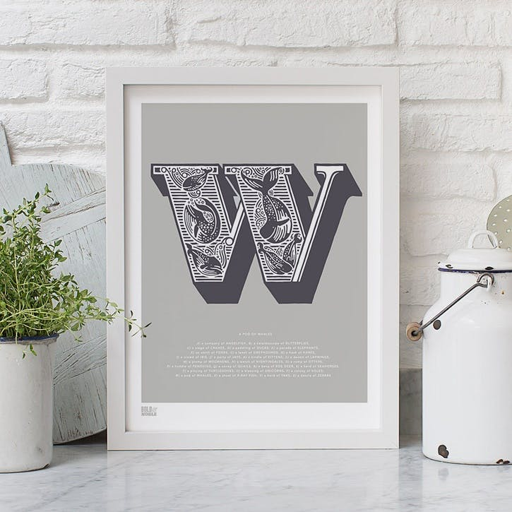 Illustrated Letter W Screen Print, 30cm x 40cm, Putty