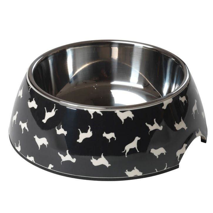 House Of Paws Silhouette Print Dog Bowl - Large; Black