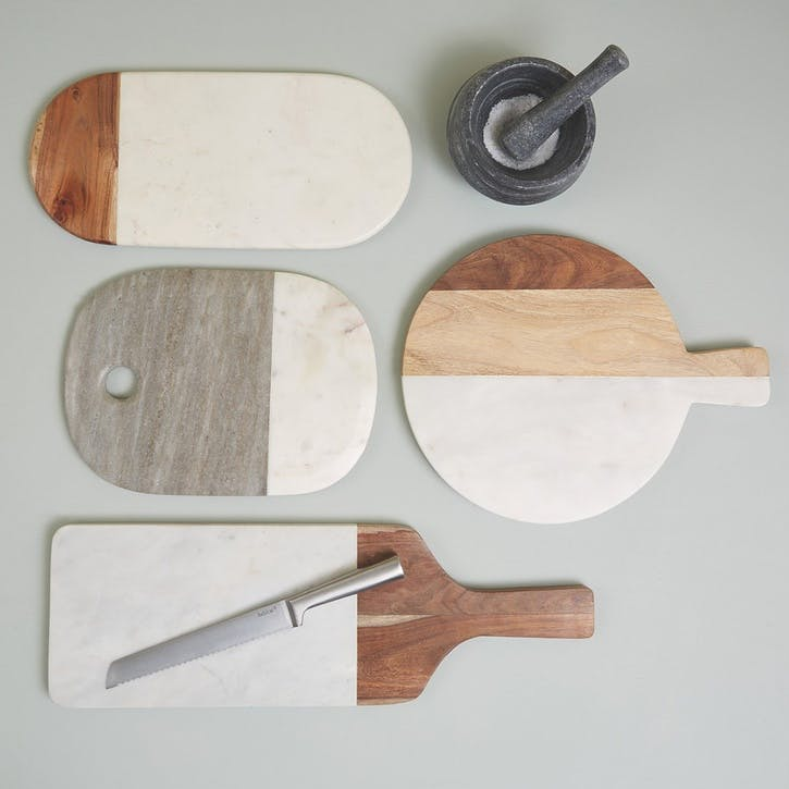Agra Marble and Wood Serving Board