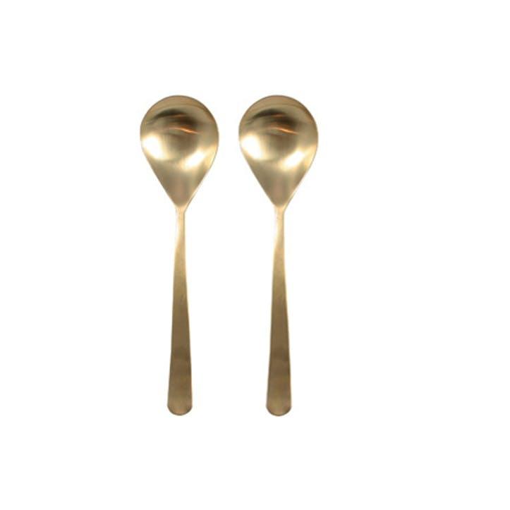 Oslo Serving Spoons, Set of 2 Matt Gold