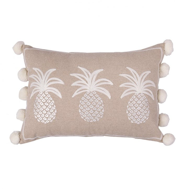 Pineapples Cushion, White on Beige